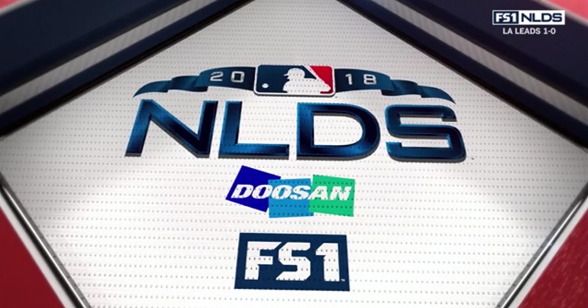 The Doosan-<i>MLB®</i> partnership logo featured on the stadium backstop
